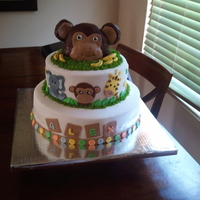 Monkey Head Cake This cake is marble with strawberry filling covered in fondant. Decorations are made with fondant. The monkey head is rice krispies covered...