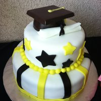 Graduation Cap Cake This is a white cake with strawberry mousse filling covered in fondant. The hat is made from a chocolate mold (all yummy chocolate) and...