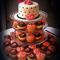 Fucsia And Black Cake And Cupcakes