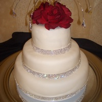 "White Fondant~Rhinestone Wedding Cake 14"" 10"" 6"""