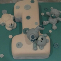 Buttons And Bears a number 1 cake for a special birthday ,they match my cupcakes on my other pics, by angelpie cakes ,take a peek at my other cakes on...
