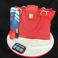 Handbag Cake red handbag cake with make-up,this was a next bag with a tie scarf on the handle.vist me on facebook and take a look at my other cakes.by...