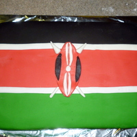 Kenyan Flag Made this for a co-worker who has been to Kenya several times on mission/service trips. 1/4 sheet cake covered in fondant panels. Used my...