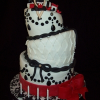 40Th Birthday Cake A topsy turvy cake with a black, white, and red theme inspired by a chandelier image I put on cookies and a very classy birthday girl who...