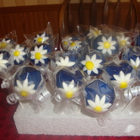 Daisy Cake Pops   Cookies & cream cake pops, dipped in dark blue colored chocolate and has a hand made daisy.
