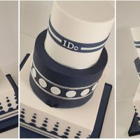 Geometric Ivory And Navy Wedding Cake