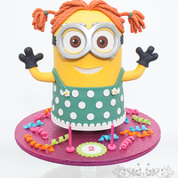 Minion Dave In Drag! This is Minion Dave as you've never seen him before.............wearing a dress! This fun cake was made for a little girl turning two...