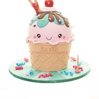 Kawaii Inspired Ice Cream Cone Cake A Kawaii inspired giant ice cream cone for a little girl turning 1 today. I was allowed to come up with the design myself and had...