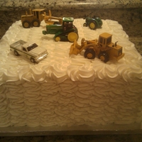 Love Of Tractors This cake was actually for the groom for the rehearsal dinner. White cake with white buttercream.