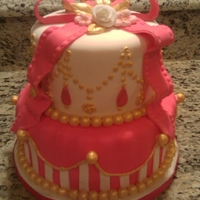 Pretty In Pink And Gold This was a french vanilla cake with chocolate fudge buttercream filling - completely covered in fondant. The jewels on the top layer are...