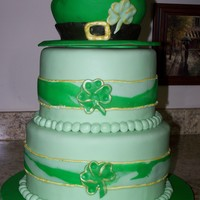 St. Patrick's Day Party Cake  Chocolate cake, chocolate filling covered in vanilla buttercream and MMF. The hat is a carved 6 inch cake.All decorations are fondant. My...