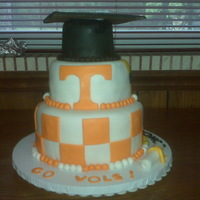 Graduation Cake This was for a friend who wanted both their Highschool and futer College represented in the cake. All fondant.