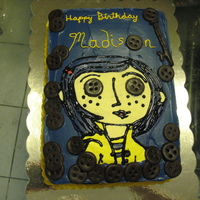 "Coraline Birthday Cake I made this cake 4 a client's 4 yrs old niece.. little girl was obsessed wit the Coraline doll from the movie... Cake is 2 9x13""..."