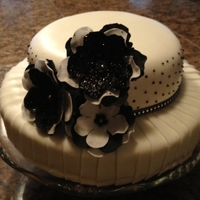 Black, White & Pleated Cake decorated for a friend hosting a 50th birthday party. The cake was baked by someone else with just one layer for each tier, and was...
