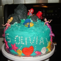 Little Mermaid Cake White cake with butter cream frosting. Fondant accents except mermaids. TFL