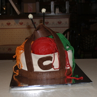 "Knitting Bag Cake  I modeled this after a cake I saw on ""Jessicas Cakes"" I am fairly certain she has a profile here too, but I don't know her..."