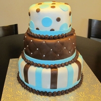 Baby Blue And Brown Cake