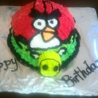 Angry Bird chocolate cake, almond syrup, madagascar vanilla buttercream and the nose is made of oreos