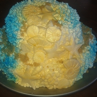 Sea Shore Dreams Buttermilk cake with almond buttercream and fondant decorations