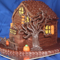 Haunted House Chocolate Cake with Chocolate Buttercream. I used chocolate for the decorations-Except for the pumpkins-my son thought it would be cute to...