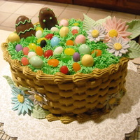 Easter 2011 Cake I made this for my boyfriend's family (Easter 2011). Egg-shaped pans from Wilton Course 2 class (2 layer), basket weave, grass tip,...
