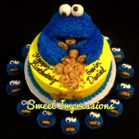 Cookie Monster Cake And Cupcakes Cookie monster made of all cake. Real chocolate chip cookies.