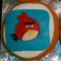 Angry Bird Fondant Cupcake Muffin size cupcake decorated with all fondant to form the ipod app of Angry Birds.