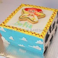 Jesse's Cake   Cake I made for a huge Toy Story fan. All covered in fondant, each pannel relates to Jesse. Sugar cookie topper. TFL!