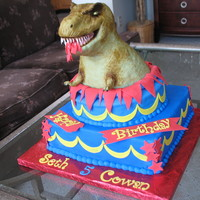 T-Rex Birthday Cake Asked to make a T-Rex birthday cake for twin boys, turning 5. Dino is RKT. The cake is vanilla cake with chocolate buttercream filling. All...