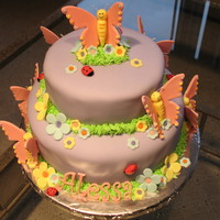 Butterfly Cake My first tier cake. Made this cake for my great-niece's 7th birthday, from a picture she found, with all her favorite colors.Some of...