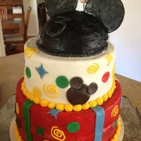 Mickey Mouse Cake Made this for 3 yr old birthday. Buttercream and fondant.