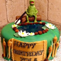 Kermit Cake All accents and figurine hand formed from fondant.The pond is from jello.