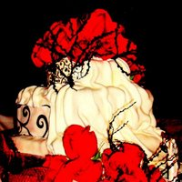 Three Tier Red Velvet Cake With Cream Cheese Frosting Covered With Ivory Fondant Draping Effect Black Design Squirls Matching The Bride Three tier red velvet cake with cream cheese frosting, covered with ivory fondant, draping effect, black design squirls, matching the Bride...