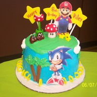 Sonic The Hedgehog And Mario Bros B-Day Cake My son wanted a Sonic and Mario b-day cake.I know it's not perfect (it was just for us anyways).Buttercream icing with fondant...