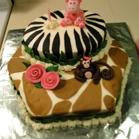 One Year Old B-Day Cake B-day cake for my one year old grand daughter. It was safari/jungle themed.