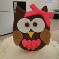 Owl Themed Cake With Buttons And Stripes Owl themed cake I made for my grand daughter's One Year Old Party