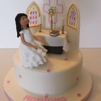 My First Communion Special Fruit Cake. Everything on this cake is edible and was hand made (except the Holy sacrament)