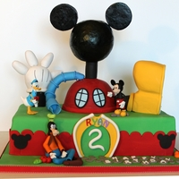 Mickey Mouse Clubhouse This is a fun cake to do. Mickey, Donald & Goofy made out of gum paste and fondant. Clubhouse made with ricekrispies treats, molding...