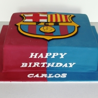 Barcelona Cake 12x12 Vanilla cake with fresh strawberries, chocolate ganache and strawberry jam.Soccer Fan