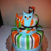 Owl Baby Shower Cake All Fondant with brown as modeling chocolate