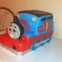 Thomas The Tank Engine Made this for a 3 year old's birthday. Had to make it FAST because the lady ordered it 2 days before party. He was a booger to make....