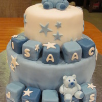 Baby Shower For Baby Boy Baby shower cake-baby blocks and little teddy bears