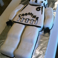 Stormtrooper Cake chocolate cake with caramel buttercream covered in MMF, head made with rice krispies