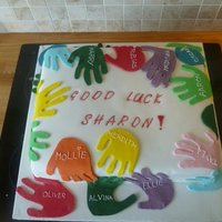 Hand Print Cake This cake was made as a gift for a teacher my my daughters pre-school