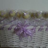 Lilac Flower Cake Pops Yet again this is another first for me. These cake pops were made to match a recent wedding cake I made. Simple design covered in white...