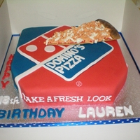Pizza Anyone? Pizza box and slice pizza, choc sponge and choc cream, covered in sugarpaste, slice has cmc added. All edible.