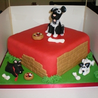 Dog Cake A birthday cake made for a boy who shows dogs at Crufts. Choc pound cake, choc cream, all sugarpaste. The dogs have cmc added, all edible...