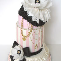 "Cake Couture A fashion-inspired cake for a fashionable girl. 8"", 6"" double barrel and 5"" dark chocolate mud cake with chocolate..."