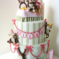 Monkeys Jumping On The Bed A cake for an adorable 1-year old whose favourite toy is a large, stuffed monkey. What better way to showcase her playful and energetic...