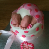 "Baby Bum inspired by cakecentral cakes; rice krispies feet and legs covered in BC then fondant. Bum is a half ball pan, two X 9"" bottom vanilla..."